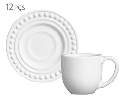 Jogo de Xícaras e Pires para Café em Cerâmica Atenas 06 Pessoas - Branco, Branco | WestwingNow