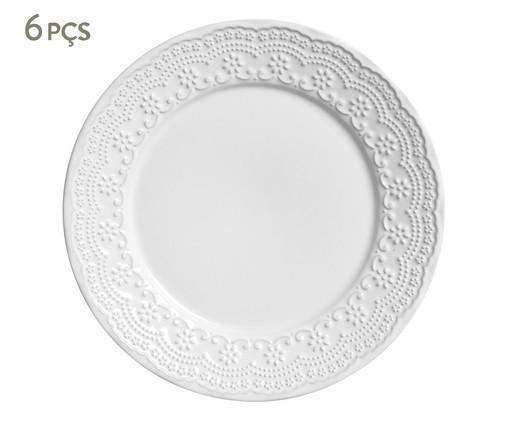 Jogo de Pratos Rasos em Cerâmica Madeleine 06 Pessoas - Branco, Branco | WestwingNow