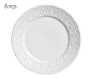 Jogo de Pratos Rasos em Cerâmica Madeleine 06 Pessoas - Branco | WestwingNow