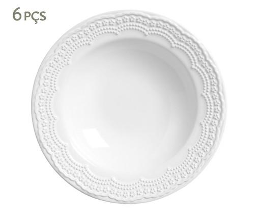 Jogo de Pratos Fundos em Cerâmica Madeleine 06 Pessoas - Branco, Branco | WestwingNow
