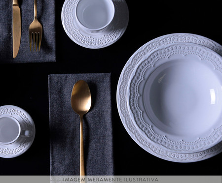 Jogo de Pratos para Sobremesa em Cerâmica Madeleine - Branco | WestwingNow