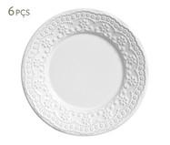 Jogo de Pratos para Sobremesa em Cerâmica Madeleine 06 Pessoas - Branco | WestwingNow