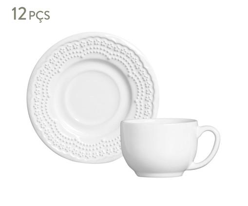Jogo de Xícaras para Chá em Cerâmica Madeleine 06 Pessoas - Branco, Branco | WestwingNow