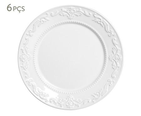 Jogo de Pratos Rasos em Cerâmica Acanthus Branco - 06 Pessoas | WestwingNow