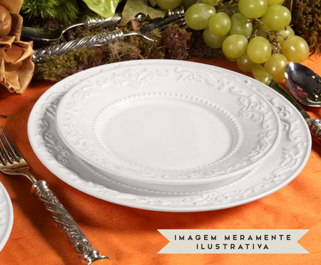 Jogo de Pratos Rasos em Cerâmica Acanthus 06 Pessoas - Branco | WestwingNow