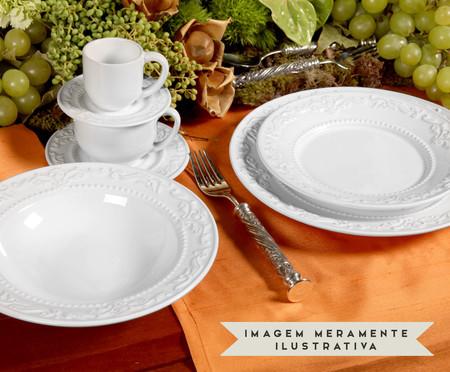 Jogo de Pratos para Sobremesa em Cerâmica Acanthus - Branco | WestwingNow