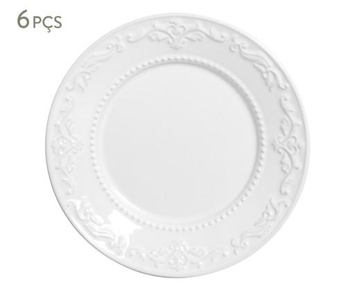Jogo de Pratos para Sobremesa em Cerâmica Acanthus Branco - 06 Pessoas, Branco | WestwingNow