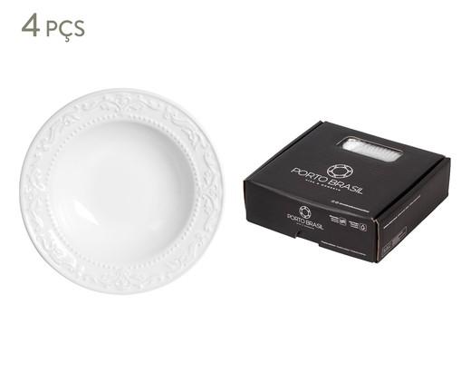 Jogo de Pratos Fundos em Cerâmica Acanthus - Branco, Branco   WestwingNow