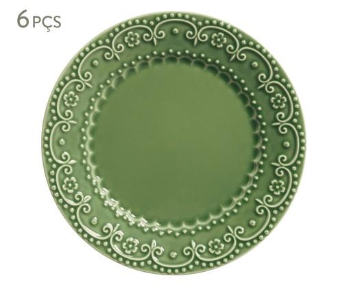 Jogo de Pratos Rasos em Cerâmica Esparta - Verde Sálvia, Verde   WestwingNow