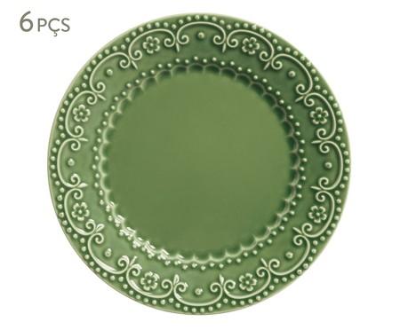 Jogo de Pratos Rasos em Cerâmica Esparta 06 Pessoas - Verde Sálvia | WestwingNow