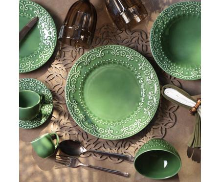 Jogo de Pratos Fundos em Cerâmica Esparta - Verde Sálvia | WestwingNow