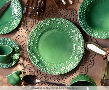 Jogo de Pratos para Sobremesa em Cerâmica Esparta Verde - 06 Pessoas | WestwingNow