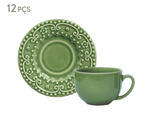 Jogo de Xícaras para Chá em Cerâmica Esparta 06 Pessoas - Verde Sálvia, Verde   WestwingNow