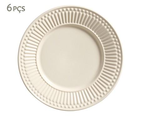 Jogo de Pratos para Sobremesa em Cerâmica Roma  06 Pessoas - Bege | WestwingNow