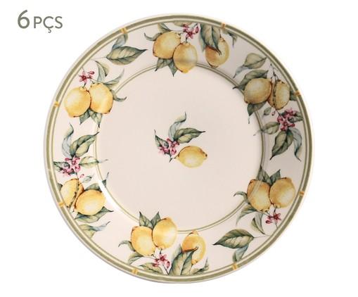 Jogo de Pratos Rasos em Cerâmica Mônaco Limone - Colorido, Branco | WestwingNow