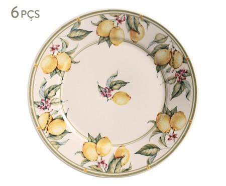 Jogo de Pratos Rasos em Cerâmica Mônaco Limone - Colorido | WestwingNow