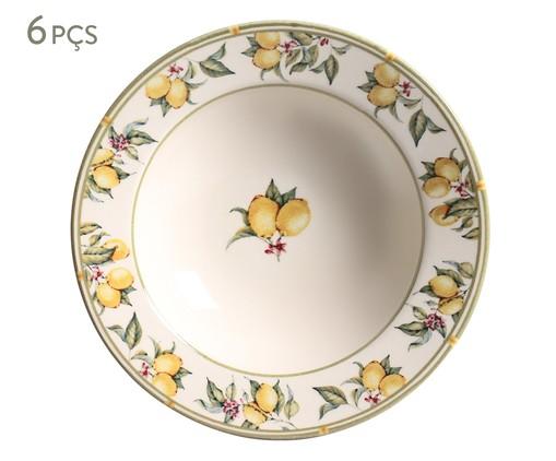 Jogo de Pratos Fundos em Cerâmica Mônaco Limone - Colorido, Branco | WestwingNow