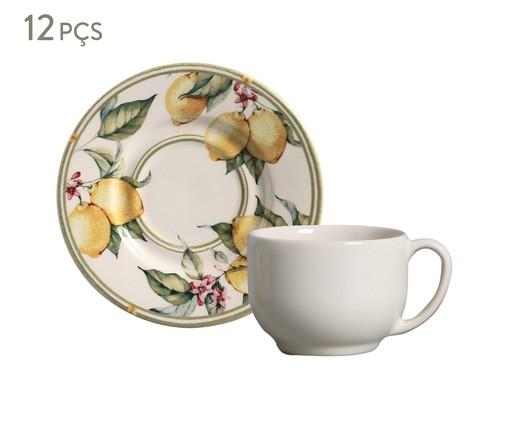 Jogo de Xícaras para Chá em Cerâmica Mônaco Limone 06 Pessoas - Estampado, Branco | WestwingNow