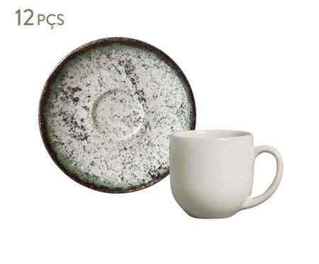 Jogo de Xícaras e Pires para Café em Cerâmica Coup Cosmic - Verde | WestwingNow