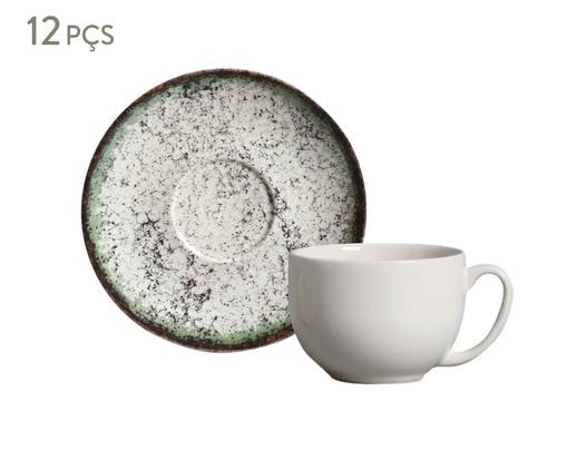 Jogo de Xícaras para Chá e Pires em Cerâmica Coup 06 Pessoas - Verde Cosmos, Verde | WestwingNow