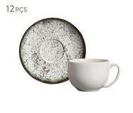 Jogo de Xícaras para Chá e Pires em Cerâmica Coup 06 Pessoas - Verde Cosmos | WestwingNow