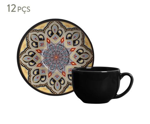Jogo de Xícaras e Pires para Chá em Cerâmica Coup Eufrates Tigre - Colorido, Preto   WestwingNow