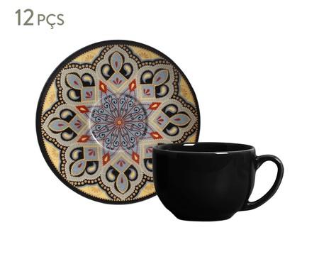 Jogo de Xícaras e Pires para Chá em Cerâmica Coup Eufrates Tigre 06 Pessoas - Estampado | WestwingNow