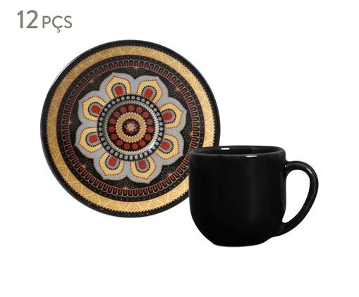 Jogo de Xícaras e Pires para Café em Cerâmica Coup Eufrates Tigre 06 Pessoas - Estampado, Preto | WestwingNow
