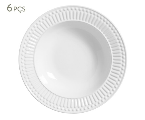 Jogo de Pratos Fundos em Cerâmica Roma 06 Pessoas - Branco, Branco | WestwingNow
