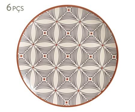 Jogo de Pratos Rasos em Cerâmica Coup Geometria 06 Pessoas - Estampado | WestwingNow