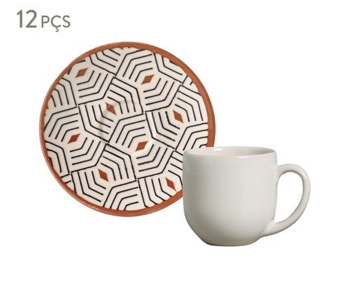 Jogo de Xícaras para Café e Pires em Cerâmica Coup Geometria - Colorido, Branco | WestwingNow