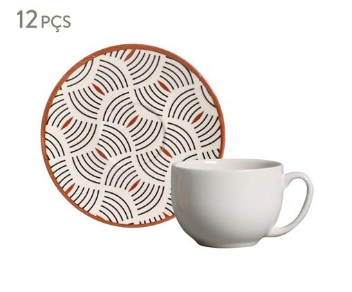 Jogo de Xícaras para Chá e Pires em Cerâmica Coup Geometria 06 Pessoas - Estampado, Branco | WestwingNow