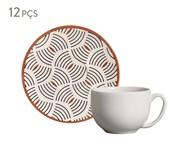 Jogo de Xícaras para Chá e Pires em Cerâmica Coup Geometria 06 Pessoas - Estampado | WestwingNow