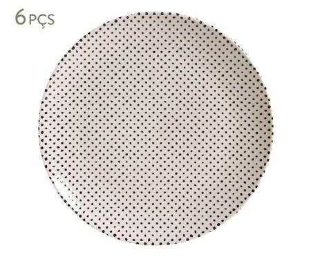 Jogo de Pratos Rasos em Cerâmica Coup Chevron - Branco e Preto | WestwingNow