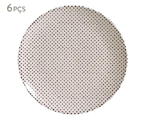 Jogo de Pratos Rasos em Cerâmica Coup Chevron 06 Pessoas - Estampado, Branco | WestwingNow
