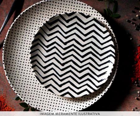 Jogo de Pratos para Sobremesa em Cerâmica Coup Chevron - Preto e Branco | WestwingNow