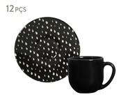Jogo de Xícaras e Pires para Café em Cerâmica Coup Chevron - Preto | WestwingNow