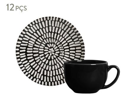 Jogo de Xícaras e Pires para Chá em Cerâmica Coup Chevron - Preto | WestwingNow