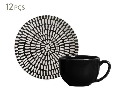 Jogo de Xícaras e Pires para Chá em Cerâmica Coup Chevron 06 Pessoas - Estampado, Preto | WestwingNow