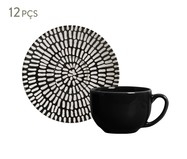 Jogo de Xícaras e Pires para Chá em Cerâmica Coup Chevron 06 Pessoas - Estampado | WestwingNow
