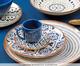 Jogo de Pratos Rasos em Cerâmica Coup Asteca - Branco e Azul, multicolor   WestwingNow