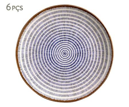 Jogo de Pratos Rasos em Cerâmica Coup Asteca - Branco e Azul | WestwingNow