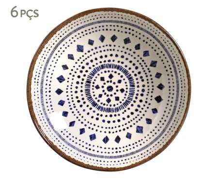 Jogo de Pratos Fundos em Cerâmica Coup Asteca - Azul | WestwingNow