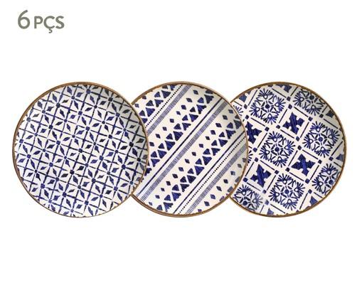 Jogo de Pratos para Sobremesa em Cerâmica Coup Asteca - 06 Pessoas, multicolor | WestwingNow