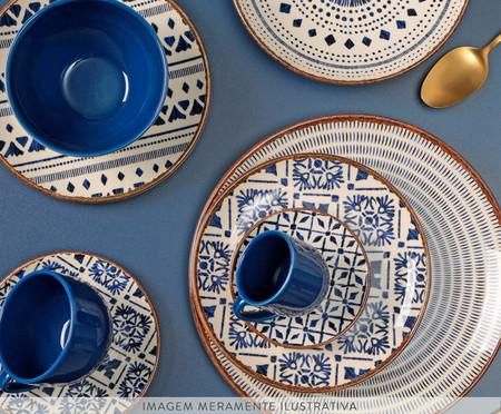Jogo de Xícaras e Pires para Chá em Cerâmica Coup Asteca - Azul | WestwingNow