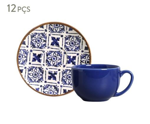 Jogo de Xícaras e Pires para Chá em Cerâmica Coup Asteca - Azul, Azul   WestwingNow