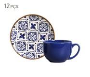 Jogo de Xícaras e Pires para Chá em Cerâmica Coup Asteca 06 Pessoas - Estampado | WestwingNow
