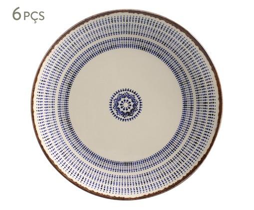 Jogo de Pratos Rasos em Cerâmica Coup Inca 06 Pessoas - Estampado, Branco,Azul | WestwingNow