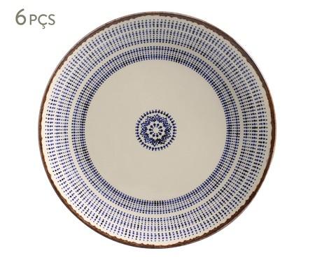 Jogo de Pratos Rasos em Cerâmica Coup Inca - Branco e Azul | WestwingNow