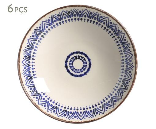 Jogo de Pratos Fundos em Cerâmica Coup Inca - Azul, Branco,Azul | WestwingNow